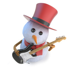 3d Funny cartoon snowman in top hat playing an electric guitar