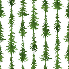 Watercolor green abstract seamless pattern with fir trees