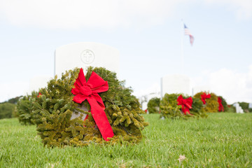 A Wreath at Cemetery During Christmastime