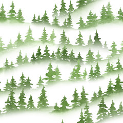 Watercolor green pine trees silhouettes. Christmas and New Year seamless pattern