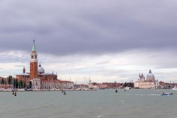 VENICE, ITALY- OCTOBER 30, 2018: View of Church of San Giorgio Maggiore and Basilica di Santa Maria della Salute