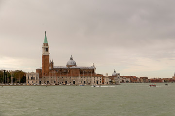 VENICE, ITALY- OCTOBER 30, 2018: Church of San Giorgio Maggiore. Set on an island, an art-filled, bright white church by Palladio giving Venice views from its tower.