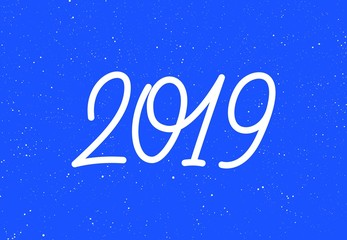 Happy New Year 2019 calligraphic text design on blue textured background. Typography for holiday card decoration. Vector illustration