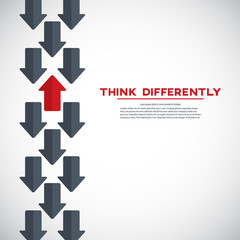 Think differently concept. Red arrow changing direction. New idea, change, trend, courage, creative solution, innovation and unique way concept.
