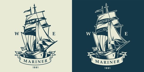Vintage monochrome nautical and maritime logo
