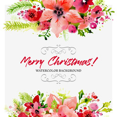 Red floral Christmas background in watercolor style