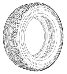 Car tire concept. Vector rendering of 3d