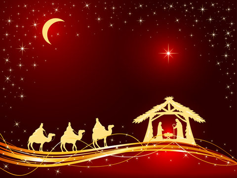 Christian Christmas Background with Birth of Jesus and Star