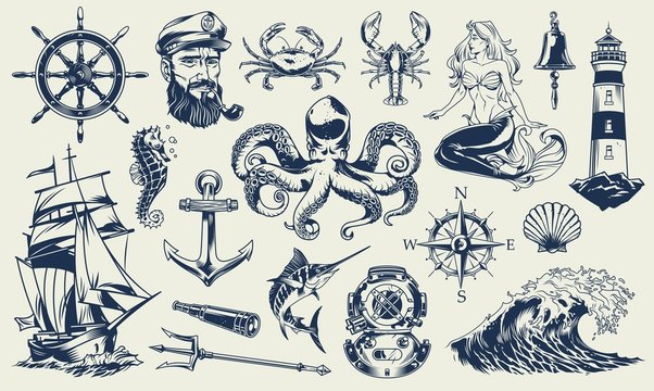 Vintage monochrome nautical elements set