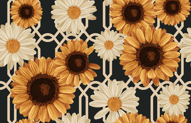 Printable seamless vintage autumn repeat pattern background with daisies and sunflowers. Botanical wallpaper, raster illustration in super High resolution.