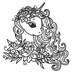 Vector cute unicorn cartoon and  flowers ,  black silhouette,  isolated on white for coloring.