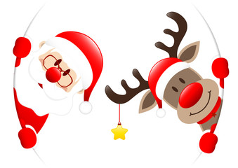 Santa & Rudolph Golden Star Round Banner Inside