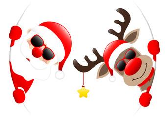 Santa & Rudolph Golden Star Sunglasses Round Banner Inside