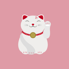 Japanese Cat Lucky Charm Talisman Vector and Icon