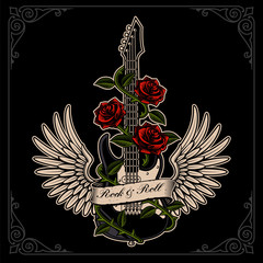 Vector illustration of guitar with wings and roses in tattoo style.