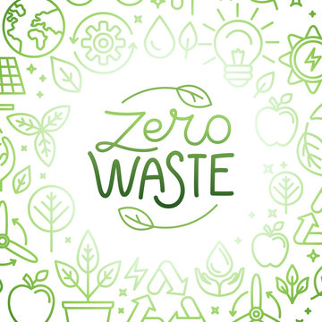 Vector logo design template and badge in trendy linear style - zero waste concept, recycle and reuse, reduce - ecological lifestyle and sustainable developments icons