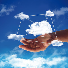 illustration of cloud computing with a hand in the sky