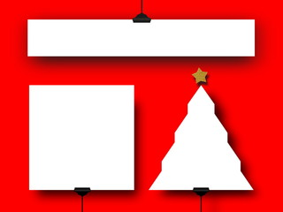 3d illustration of three blank Christmas frames against red background
