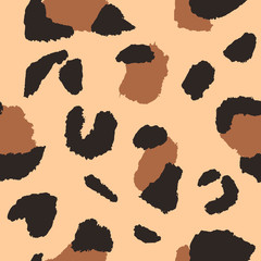 Leopard seamless pattern, vector illustration. Animal print, wild cat cheetah texture. Design for seamless wallpaper, fashion textile, background, fabric, cloth, wrapping, decor paper. African style.