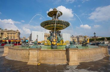 PARIS, FRANCE, SEPTEMBER 5, 2018 - The Fountain of the Seas at Place de la Concorde in Paris. One of the most famous squares in Paris, France.