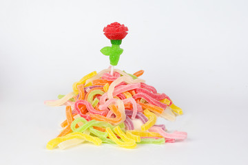 Rose Leaf shape Long Soft Colorful Chewy Sugary Sour Candy Gummy Sweet Assortment