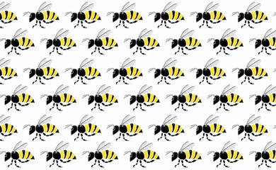 Teamwork of bee flying on white background.Business team concepts
