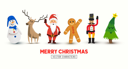 A set of happy christmas characters including Santa and a snowman. Vector illustration.