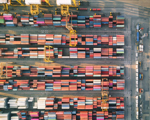 Shipping cargo commercial logistics industry Aerial top view of huge industrial port with containers. Global trade networks
