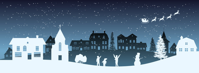 Christmas nigh panorama. Silhouettes of kids looking at Santas sleigh. Celebration scene. Paper village landscape. Holidays graphic