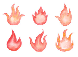 Collection of watercolor fires. Clipart with flames.