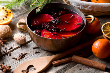 The process of preparing mulled wine. Traditional Christmas drink.