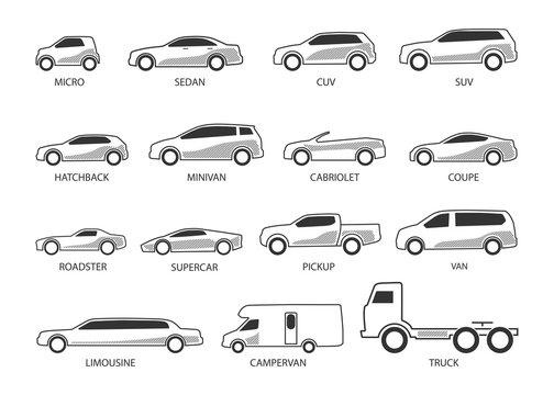 car type icon set