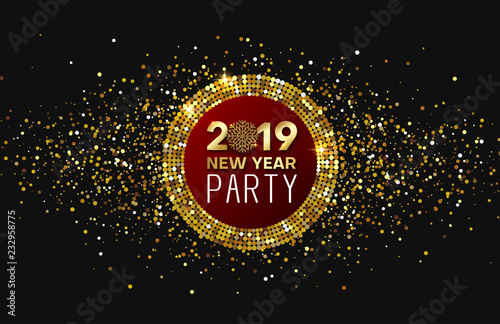 new year 2019 party shiny poster or invitation card with golden confetti