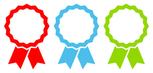 3 Award Badges Red/Blue/Green/White Graphic