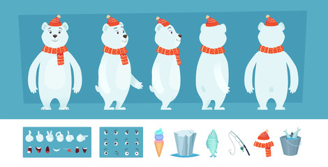 Polar bear animation. White wild animal body parts and different faces vector character creation kit. Illustration of bear animation, face look