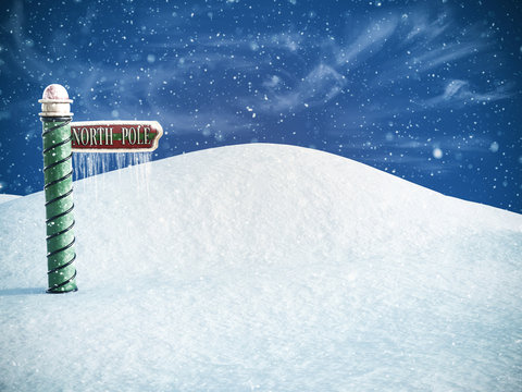 3D rendering of a north pole sign.