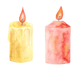 Two watercolor candles. Hand drawn illustration.