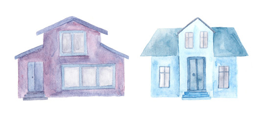 Two watercolor houses. Hand drawn illustration.
