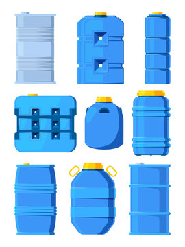 Water tanks. Set of various barrels in cartoon style. Tank and barrel, storage water drink, vector illustration