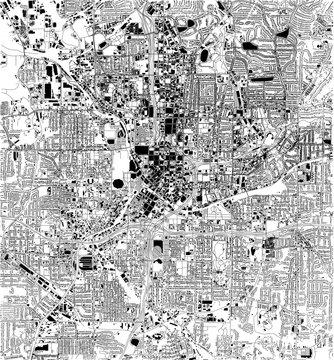 Mappa satellitare di Atlanta, Georgia, Usa, strade della città. Stradario e mappa del centro città