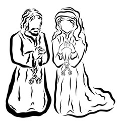 Praying man and woman, biblical times, Mary and Joseph