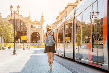 Woman passenger at the Tram Public transport in Saragossa