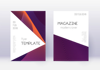 Triangle cover design template set. Violet abstrac