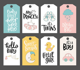 Set of cute Baby stickers with lettering quote and baby objects. Editable vector illustration