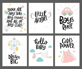 Set of cute cards for Baby Shower with lettering quotes. Editable vector illustration