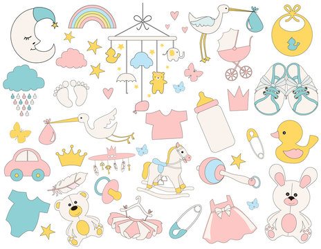 Set of cute baby objects toys and clothes. Editable vector illustration