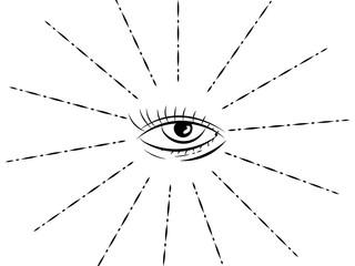 All-seeing eye. Outline drawing. Masonic symbol.