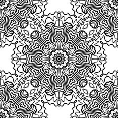 Ornamental floral print with color seamless ornament. For design of carpet, shawl, pillow, cushion. Vector illustration