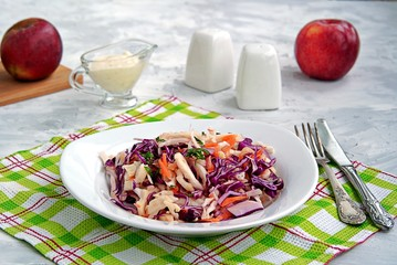 Coleslaw of red and white cabbage, carrots and apples in a white plate. Served with dressing of mayonnaise, sour cream and apple juice. Healthy food.