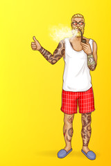 Vector pop art blonde haired man with beard smokes wooden pipe with tobacco. Guy in shorts, slippers with tattoos holds thumbs up. Character isolated on yellow background for poster, banner.